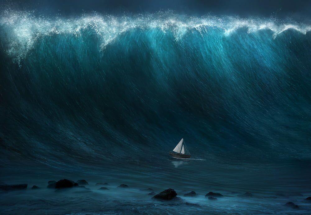 ilginc - A small boat being captured by a large tsunami wave Amanda Cardens - Bermuda Şeytan Üçgeni Efsanesi