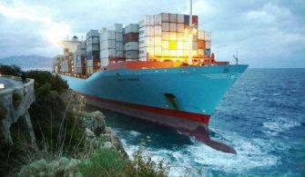 Maersk Line a ait gemi karaya oturdu