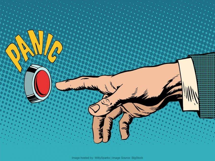 Panic-button-business-concept