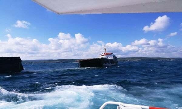 haberler, gundem - istanbul gemi kazası2 - İstanbulda MV Leonardo İsimli Gemi İkiye Bölündü