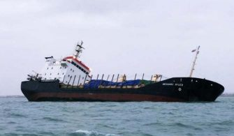 Russian cargo ship listing