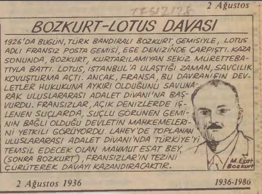 ilginc - Bozkurt Lotus Davası Gazete 2 - Türk Deniz Hukuku Zaferi Bozkurt - Lotus Davası
