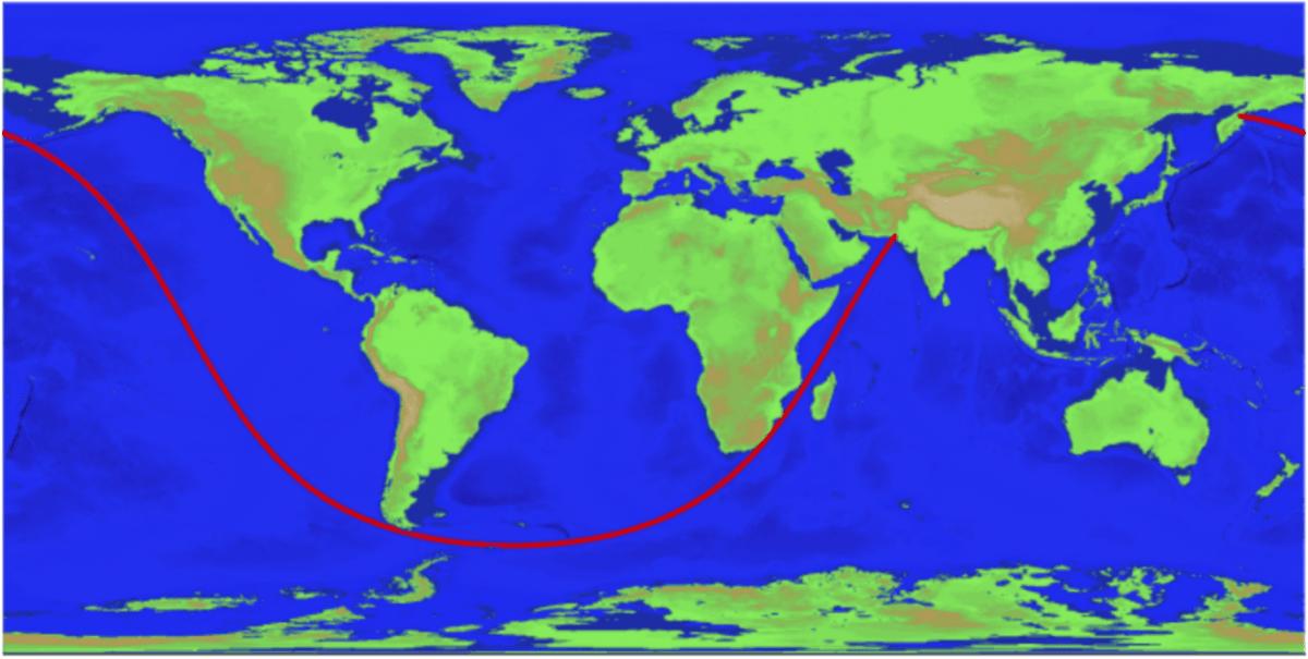 seyir - büyük daire seyri - Dünya'nın En Uzun Büyük Daire Seyri