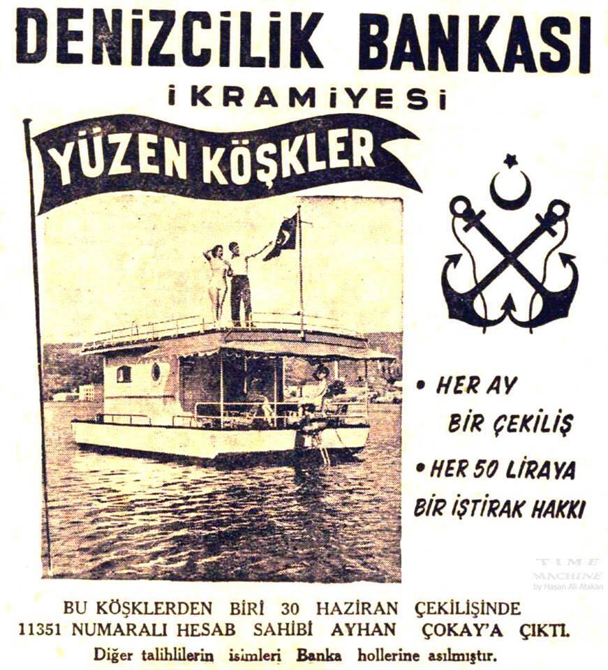 ilginc, deniz-kultur - Denizcilik Bankası Yüzen Ev Broşür - Geçmişte İstanbul'da Yüzen Evler Vardı