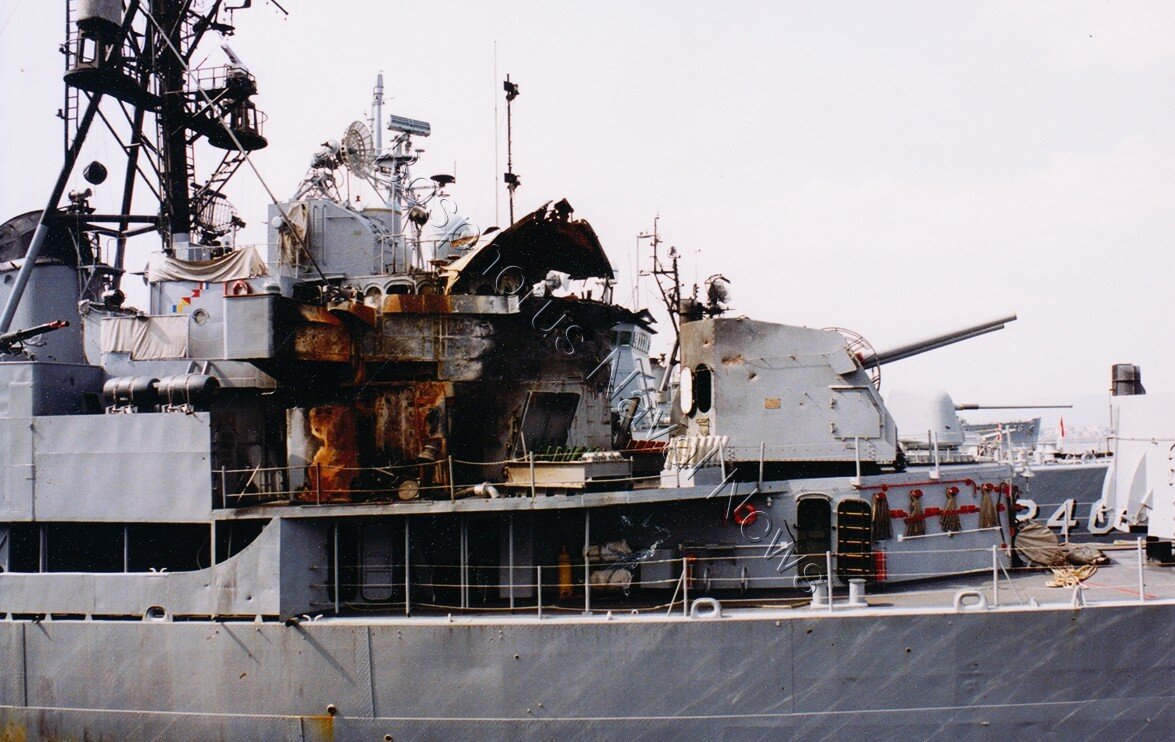 deniz-kultur - TCG Muavenet vurulduktan sonrası - Muavenet - Amerikanın Vurduğu Gemimiz